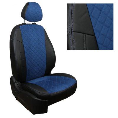 Комплект чехлов из экокожи с алькантарой РОМБ для Mitsubishi Pajero Sport II (2008-2013) (Автопилот)