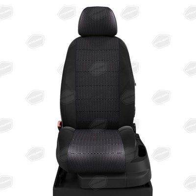 Комплект чехлов из экокожи с жаккардом для Seat Leon 3 с 2013-н.в. хэтчбек (Автолидер)
