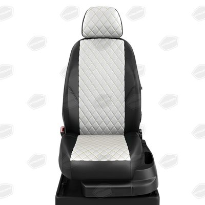 Комплект авточехлов из экокожи РОМБ для Seat Ibiza с 2008-2017. хэтчбек (Автолидер)